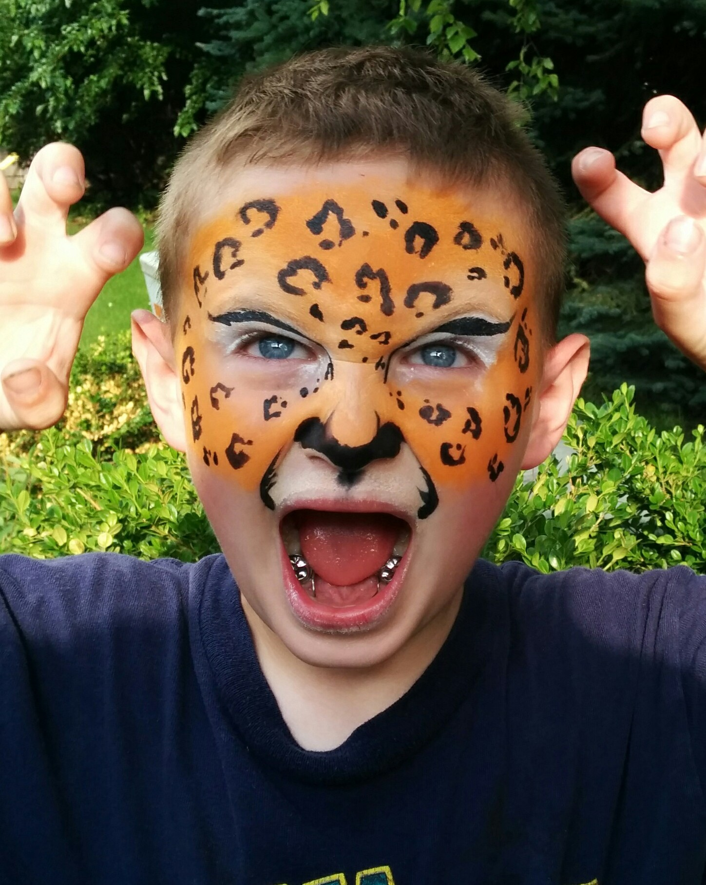 Easy cheetah face paint for kids - photo#4